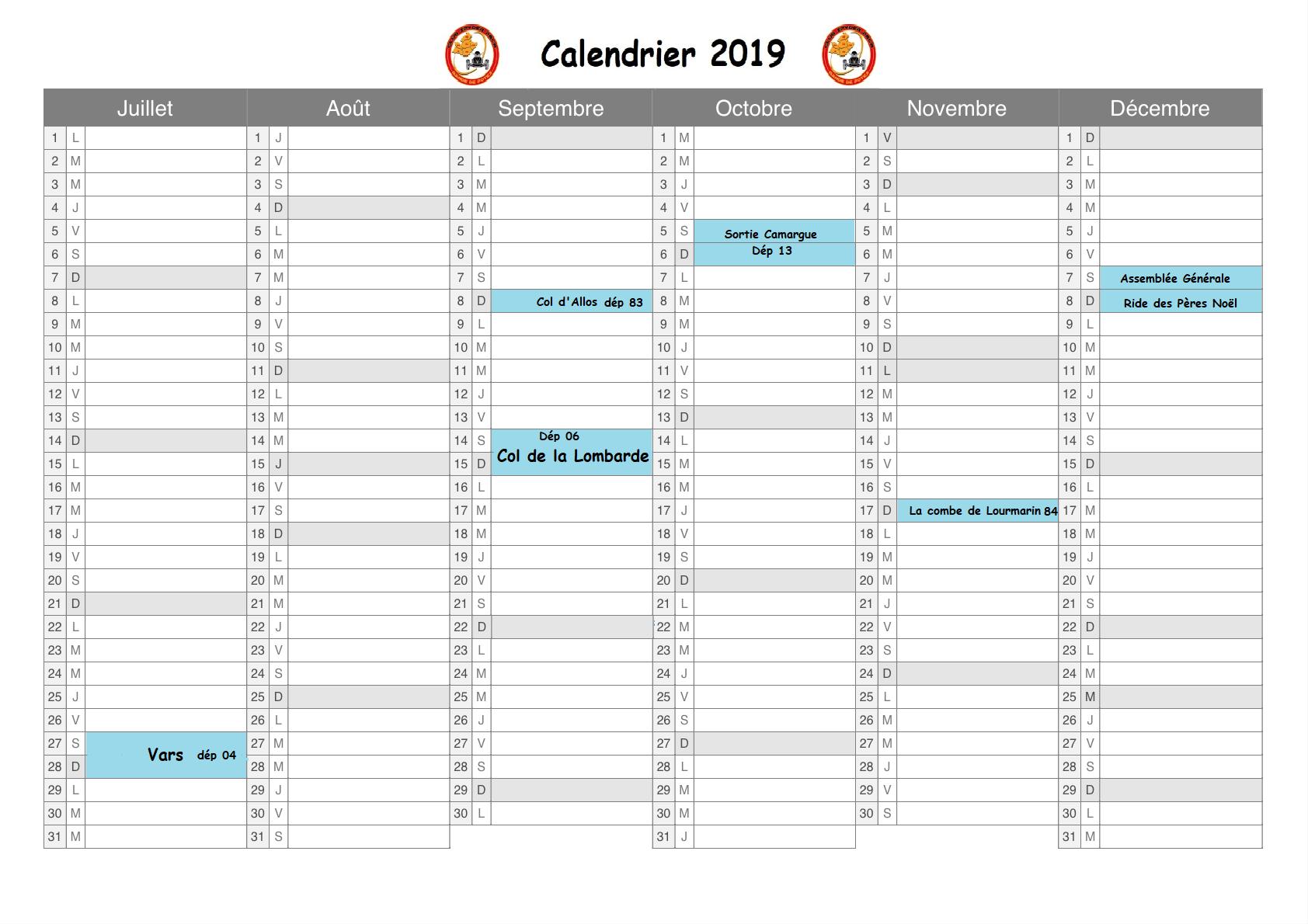 Calendrier 2019 2ème semestre
