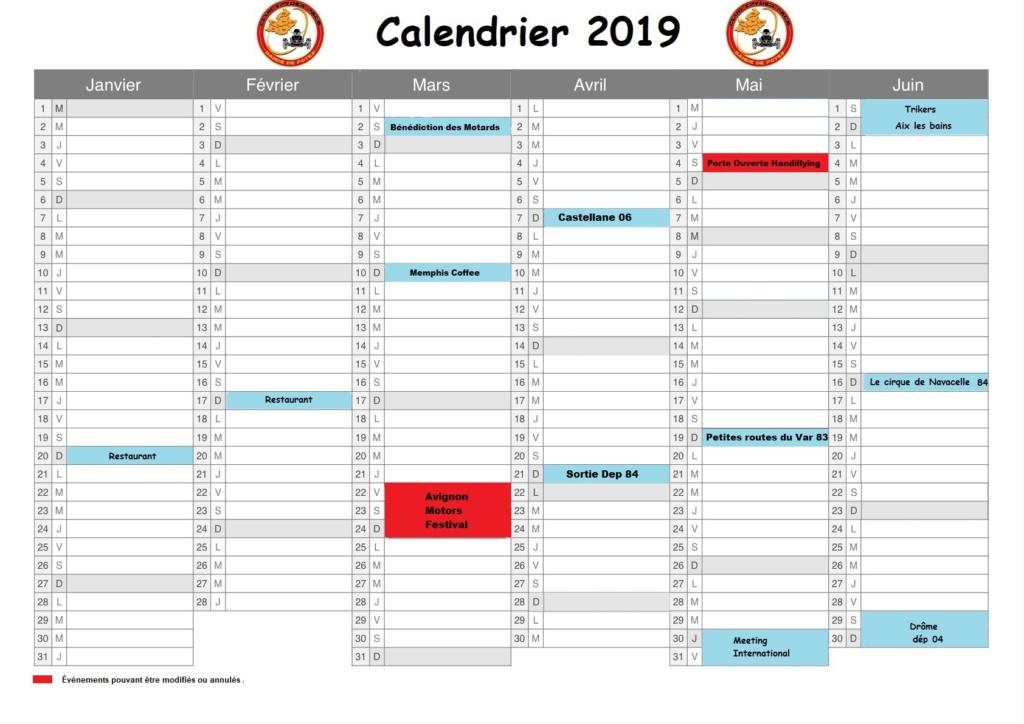 calendrier 2019 - 1er semestre