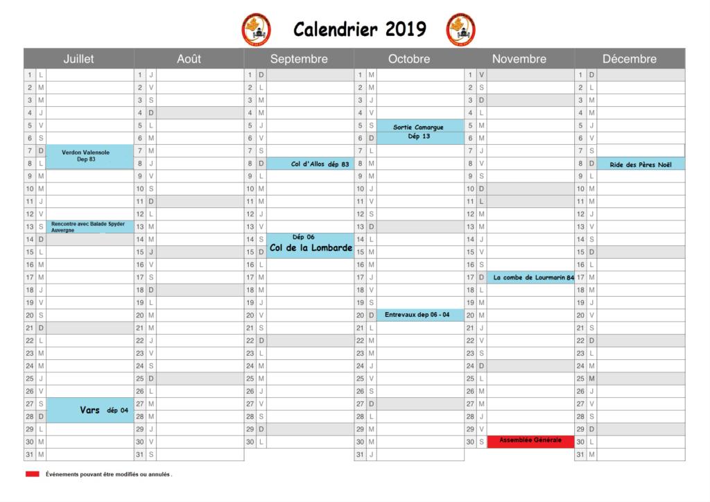 calendrier 2019 - 2ème semestre
