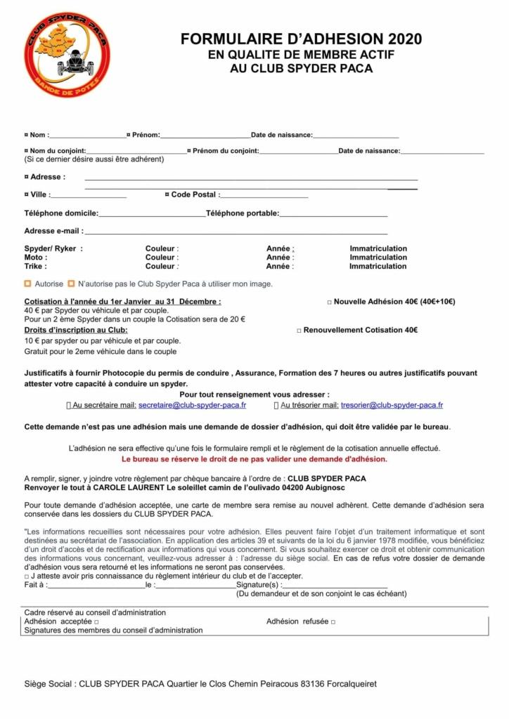 Formulaire d'adhésion 2020