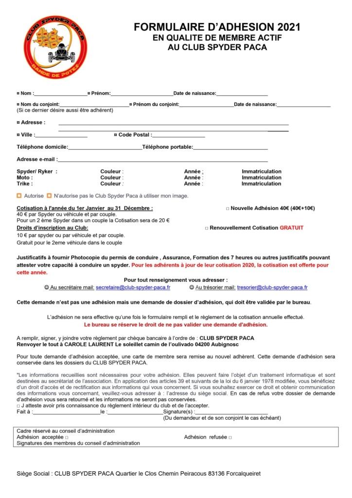 Formulaire d'adhésion 2021